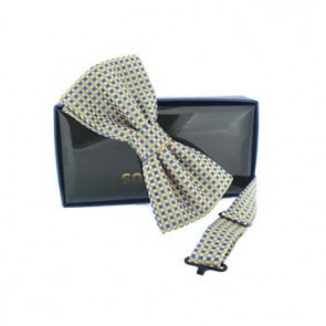 Yellow And Blue Check Pre Tied Bow Tie