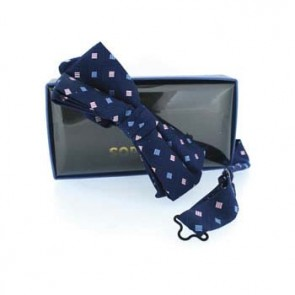 Navy Blue And Pink Diamond Pre Tied Bow Tie