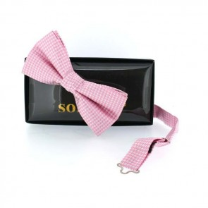 Pink Check Pre Tied Bow Tie