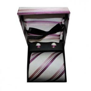 Lilac And White Stripe Cufflink Tie And Hankie Gift Box