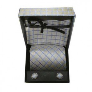 Blue And Grey Check Cufflink Tie And Hankie Gift Box