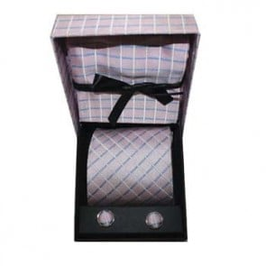Pink And Blue Check Cufflink Tie And Hankie Gift Box
