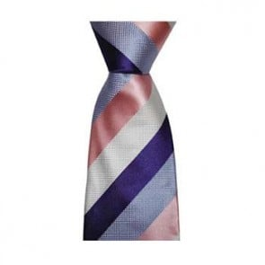 Blue And Pink Large Stripe Tie