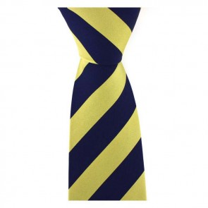 Yellow And Navy Blue Thick Stripe Tie
