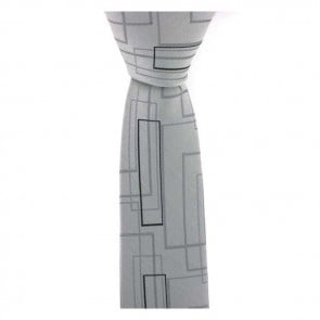 Grey Retro Rectangular Shaped Tie