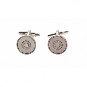 Pink Mother Of Pearl And Clear Crystal Bullseye Cufflinks