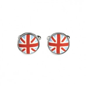 Union Jack Fabric Button Cufflinks