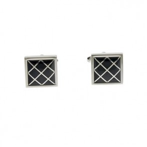 Onyx Rectangular Mesh Cufflinks
