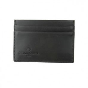 Black Plain Leather Credit Card Holder