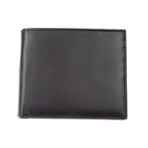 Black Plain Leather Jeans Wallet