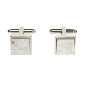 Mother Of Pearl Small Square Chequer Cufflinks