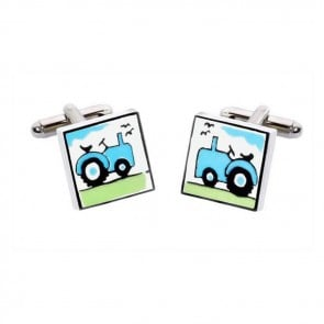 Square Blue Tractor Cufflinks