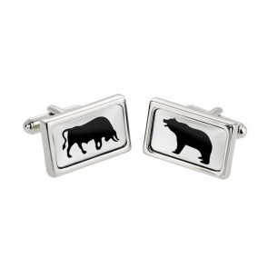 Bull And Bear Patterned Cufflinks