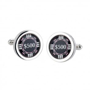 Black Poker Chip Cufflinks