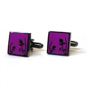 Spring - Black Metal Finish Purple Cufflinks