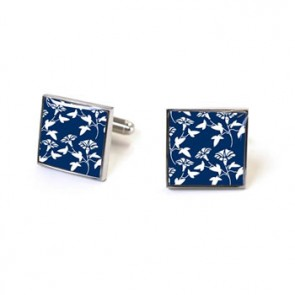 Victorian Wallpaper Jasper Navy Cufflinks