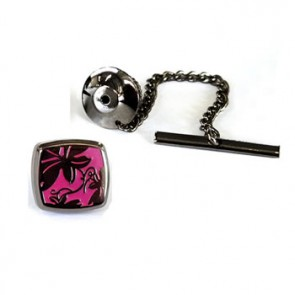Vine Bright Pink - Black Metal Finish Tie Pins