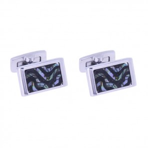 Blue Goldstone And Abalone Swirl Cufflinks