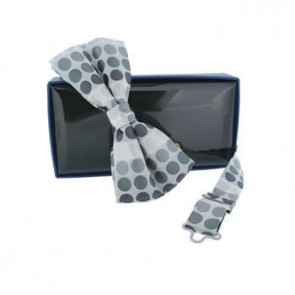 Grey Spots Self Tie Bow Tie