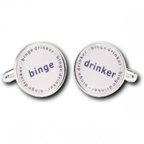 Binge Drinker Duos Design Silver Plated Cufflinks
