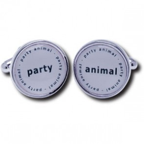 Party Animal Duos Silver Plated Cufflinks