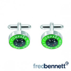 Green & Back Compass Cufflinks