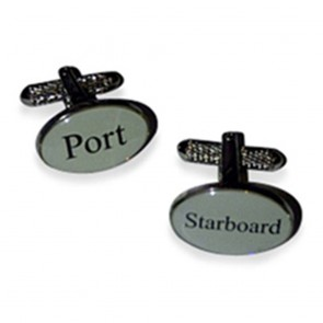 Port And Starboard White Cufflinks