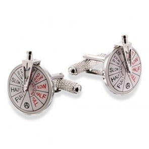 Ship Telegraph With Handle - Rhodium Cufflinks