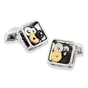 Gears Cufflinks - Square Rhodium