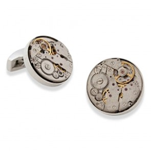 Steam-Punk Watch Movement - Rhodium Cufflinks