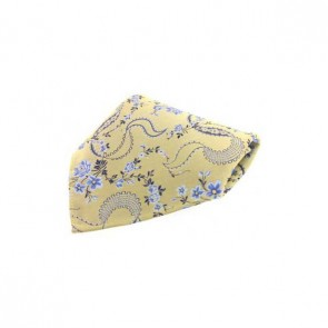 Gold Floral Patterned Silk Pocket Square