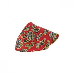 Large Red Paisley Silk Pocket Square