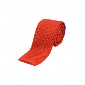 Burnt Orange Thin Knitted Polyester Tie