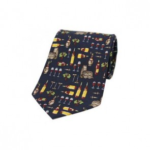 Wine Bottle Glass And Barrel on a Navy Silk Tie