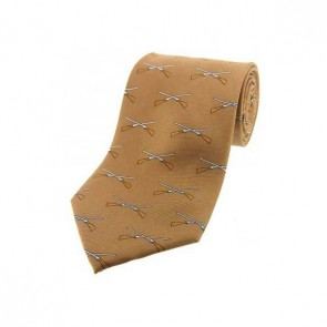 Crossed Guns On Fawn Brown Country Silk Tie