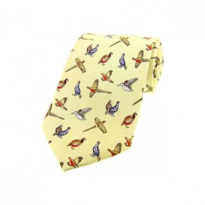 Country Birds On Pastel Yellow Country Silk Tie