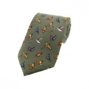 Country Birds On Country Green Country Silk Tie