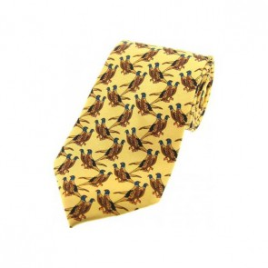 Country Birds On Yellow Country Silk Tie