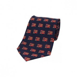 London Red Bus on a Navy Silk Tie