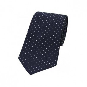 White Pin Dot on Blue Polyester Tie