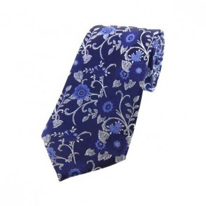 Blue Flowers on a Navy Silk Tie