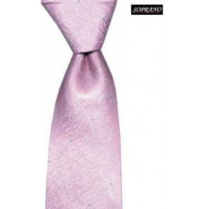 Brushed Baby Pink Flower Silk Tie