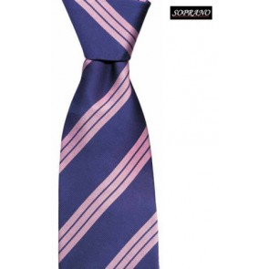 Blue And Pink Stripes Tie