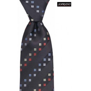Diagonal Window Black Silk Tie