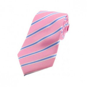 Pink, White and Sky Blue Striped Silk Tie
