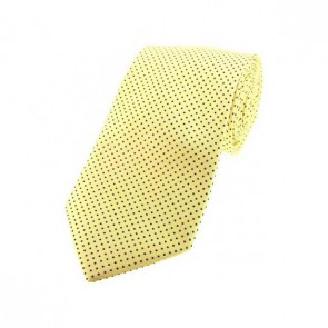Lemon Yellow and Black Pin Dot Silk Tie