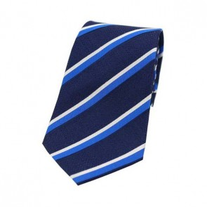 Blue and White Stripes on a Navy Silk Tie