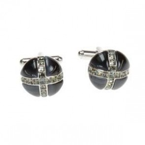 Cross Dome Dark Grey & Grey Cufflinks