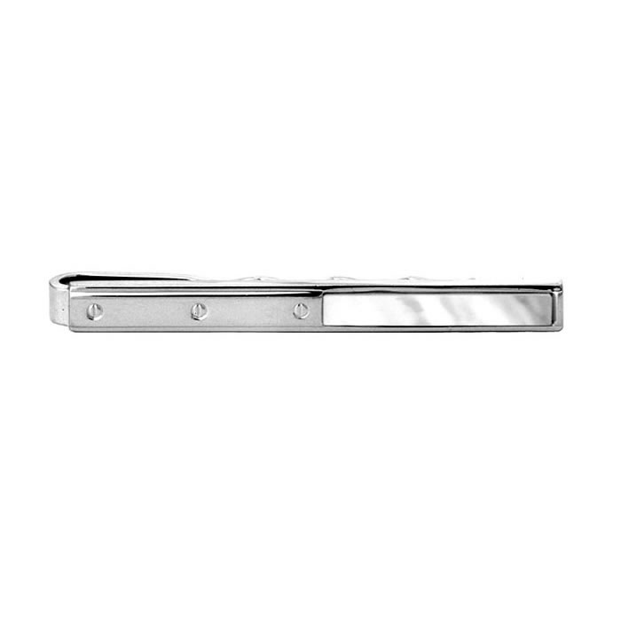 Half Mother Of Pearl Rivet Tie Bar