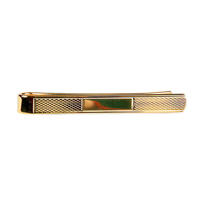 Gold Finish Bracelet Effect Tie Bar
